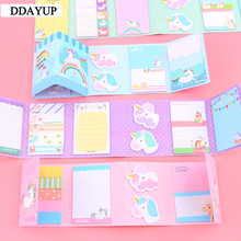 лучшая цена Lovely Cute Unicorn Party 6 Folding Memo Pad N Times Sticky Notes Memo Notepad Bookmark Gift Stationery