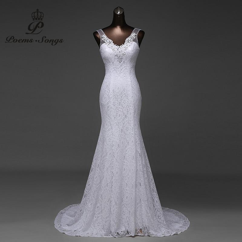 Gratis frakt Tilpasset vakkert blonder blomster havfrue Bryllupskjoler vestidos de noiva robe de mariage ball kjole Brudekjole