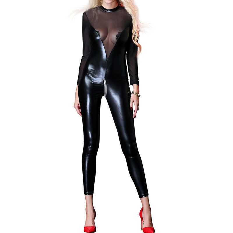 21f9941e9353 Skinny Womens Jumpsuit Mesh Latex Catsuit Long Sleeve Sexy Clubwear Womens  Jumpsuit Bodycon Leather Overalls for