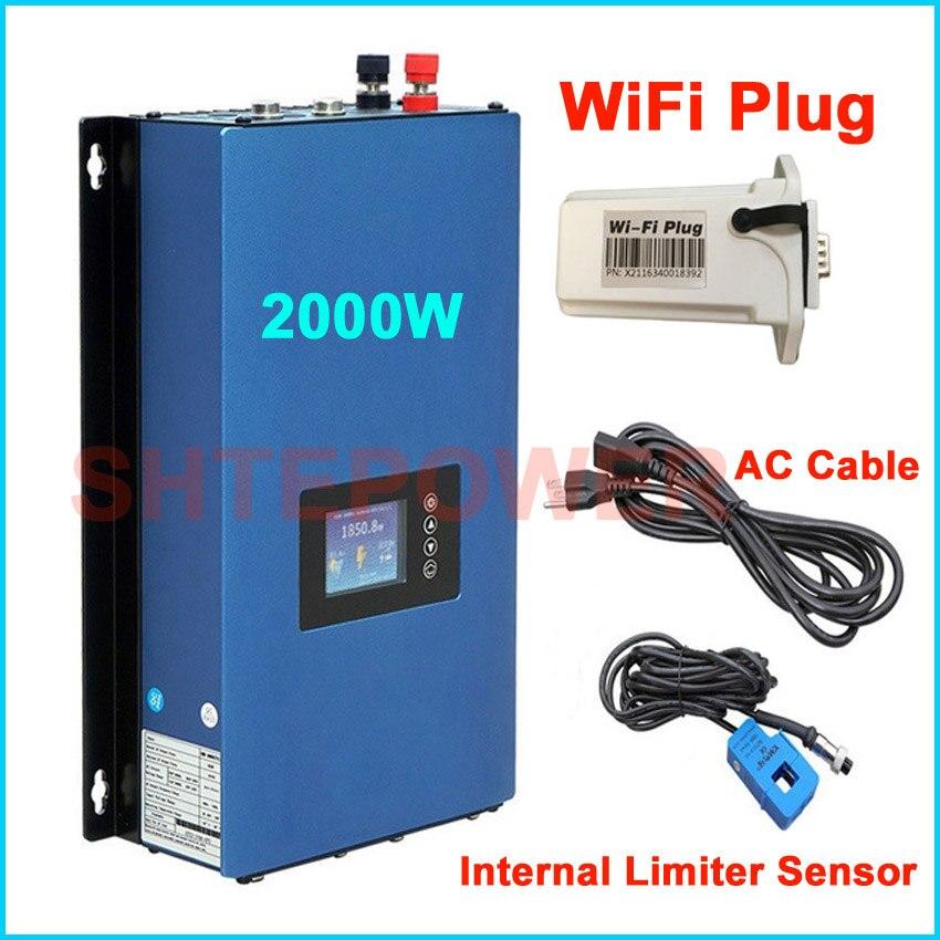 2KW MPPT сетки галстук преобразователь солнечной Мощность инвертор DC 45 90 В вход переменного тока выход с Новый генератор wi Fi plug и Интер ограничи