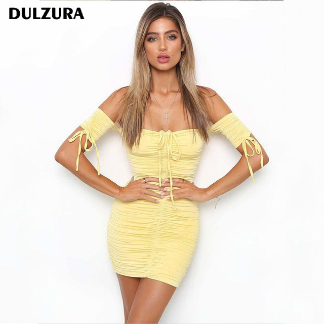 Dulzura short sleeve off shoulder women bodycon dresses 2018 spring summer  female sexy lace up party dress d33f91b1080f