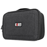 BUBM Electronics Accessories Carry Bag Double Layer Cable Organizer USB Drive Shuttle Hard Drive Case With