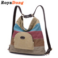 RoyaDong Brand 2017 Women's Backpacks Vintage Canvas Multi-Use Bags Design Color Blocking Patchwork Travel Bags