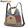 Royadong marca 2017 de las mujeres mochilas de lona de la vendimia de usos múltiples bolsas de diseño color blocking patchwork bolsas de viaje