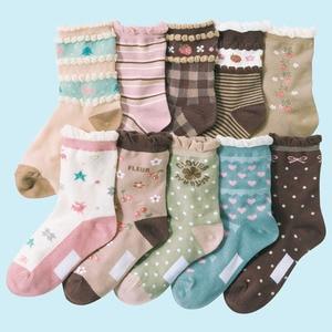 Image 4 - 10 pairs/lot  4 12 years girls socks cartoon floral children kids socks cotton high quality