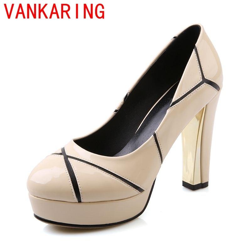 ФОТО VANKARING shoes 2016 beige white women's platform pumps high heels shoes woman fashion pumps ladies dress party dance shoes