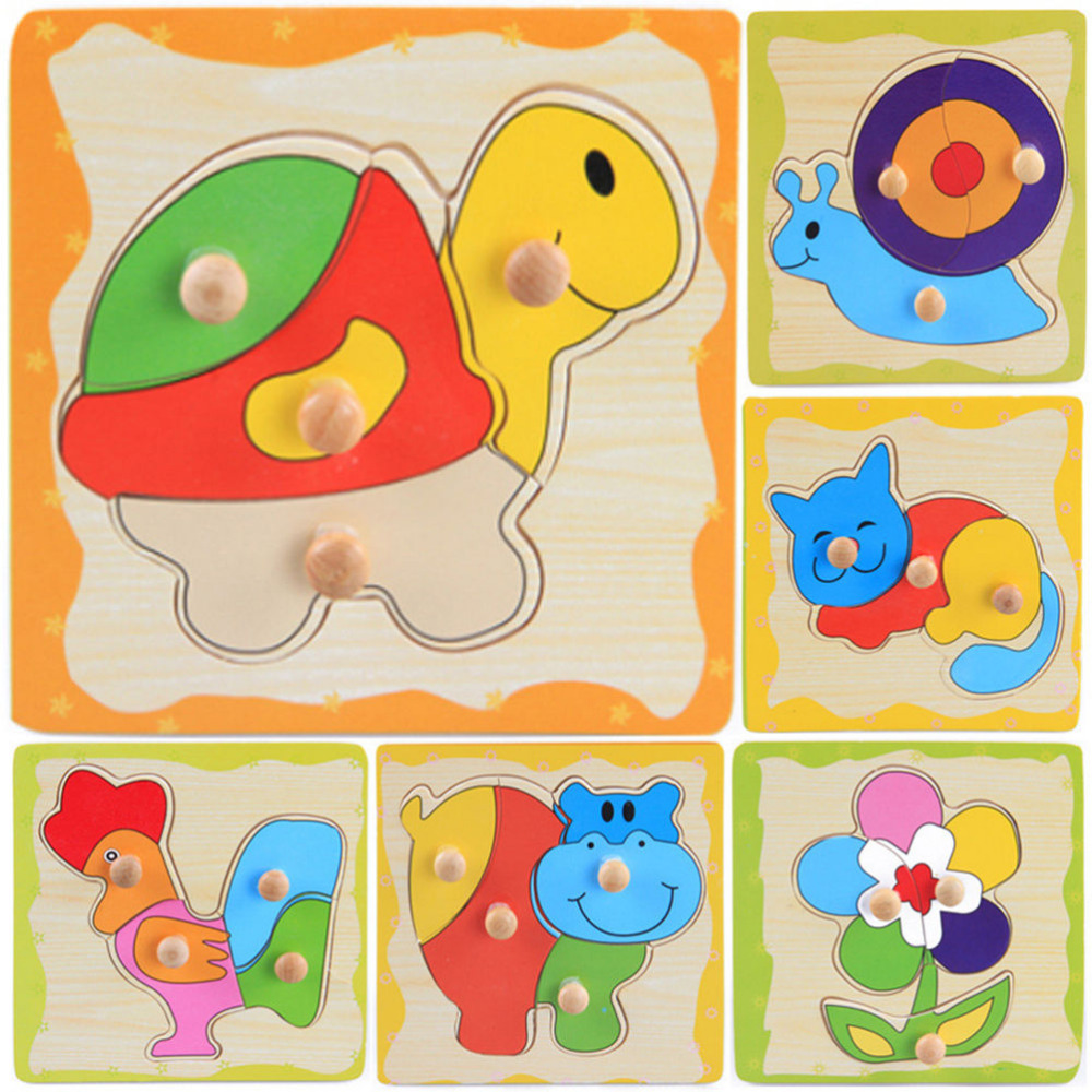 Wooden Puzzle Jigsaw Toys Cartoon Learning Baby Kids Educational Toy Gift TO