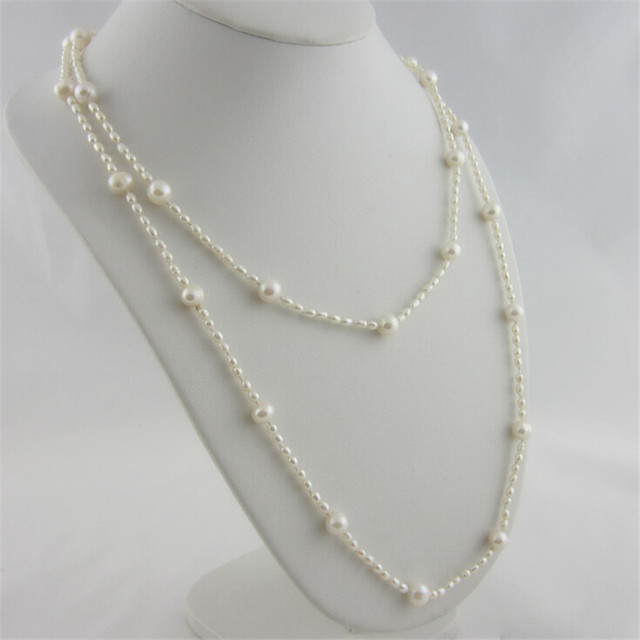 Fashion Long Multilayer Pearl Necklace Freshwater Pearl Size Interval Women Accessories Statement Necklace Jewelry For Women