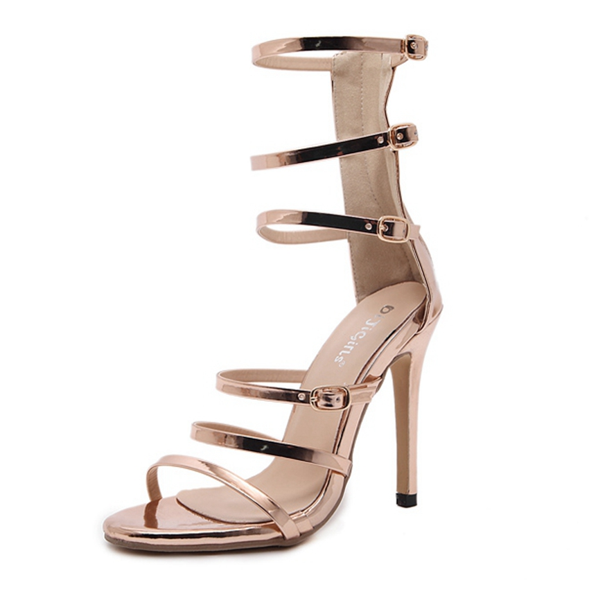 Women Fashion Gladiator Sandals Sexy High Heels Ankle Strap Party Shoes Woman Stiletto Pumps for Summer ZG938-91 big size 32 43 fashion party shoes woman sexy high heels platform summer pumps ankle strap sandals women shoes