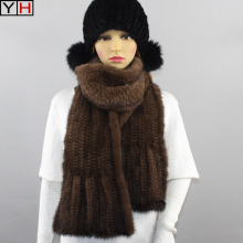 Mink Scarf Real-Mink-Fur Shawl Hand-Knitted Warm Fashion 100%Natural Women Good-Gift