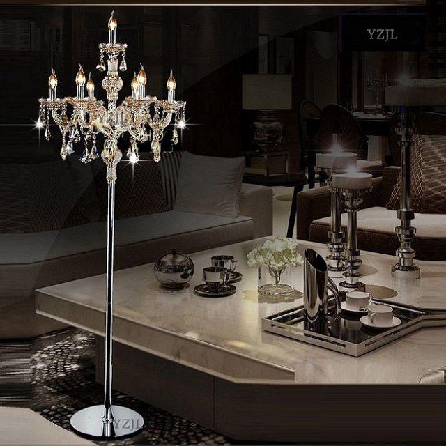 Crystal light floor lamp modern fashion wedding floor light crystal floor lamp bedroom living room indoor decorative 7Heads