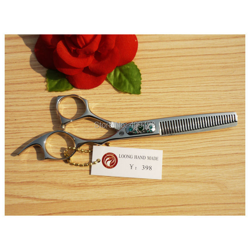 ФОТО LOONG CFM-630 6 inch hair thinning scissors hairdressing shears 440C stainless steel offset handle