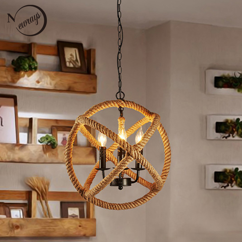 Loft Style Nordic Retro Creative Clothing Store Coffee Hall Rope Chandelier Industrial lamp replicate Restoration Hardware light недорго, оригинальная цена