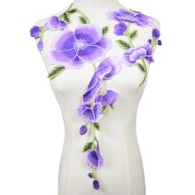 1 Set Viola Fiori Sew On Patch Zone Del Ricamo Abbigliamento Motif Applique Vestiti FAI DA TE Accessori(China)