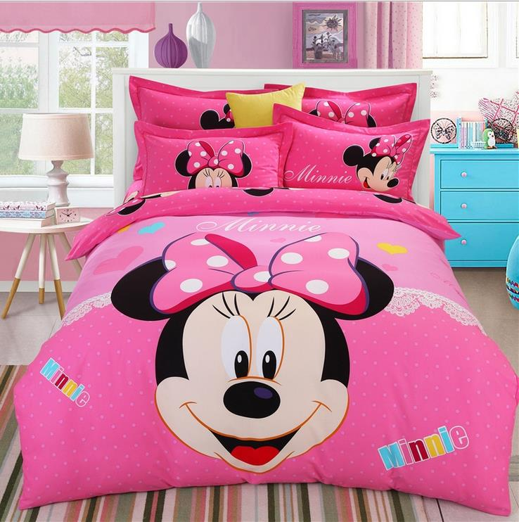 mickey minnie cartoon kids boys girls bedding set 4pcs cotton king queen size duvet cover set. Black Bedroom Furniture Sets. Home Design Ideas