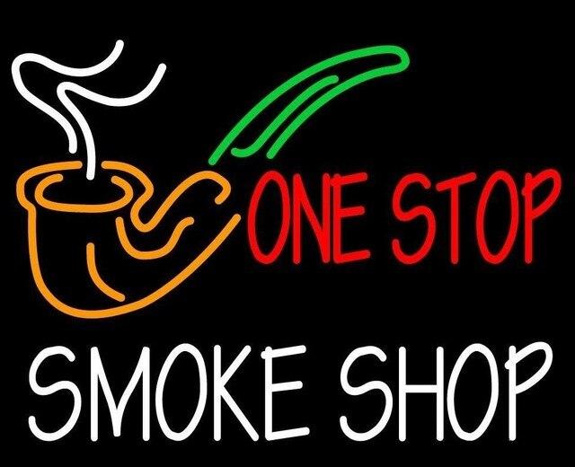 Custom One Stop Smoke Shop Glass Neon Light Sign Beer Bar