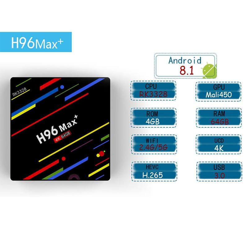 H96 Max Plus 4GB 64GB Rk3288 Android 8 1 4k TV Box 2 4 5GHZ Dual