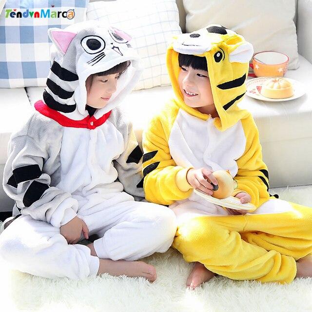 7f58b259a Cartoon pajamas Cheese cat yellow tiger girls clothes children ...