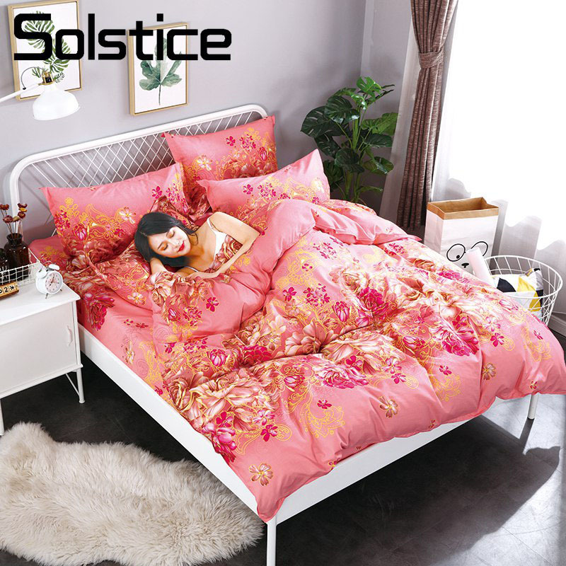 Solstice Home Textile Red Flower Female Adult Bedding Suit Duvet Cover Flat Bed Sheet Pillowcase Girl Teen Linen Bedclothes Sets