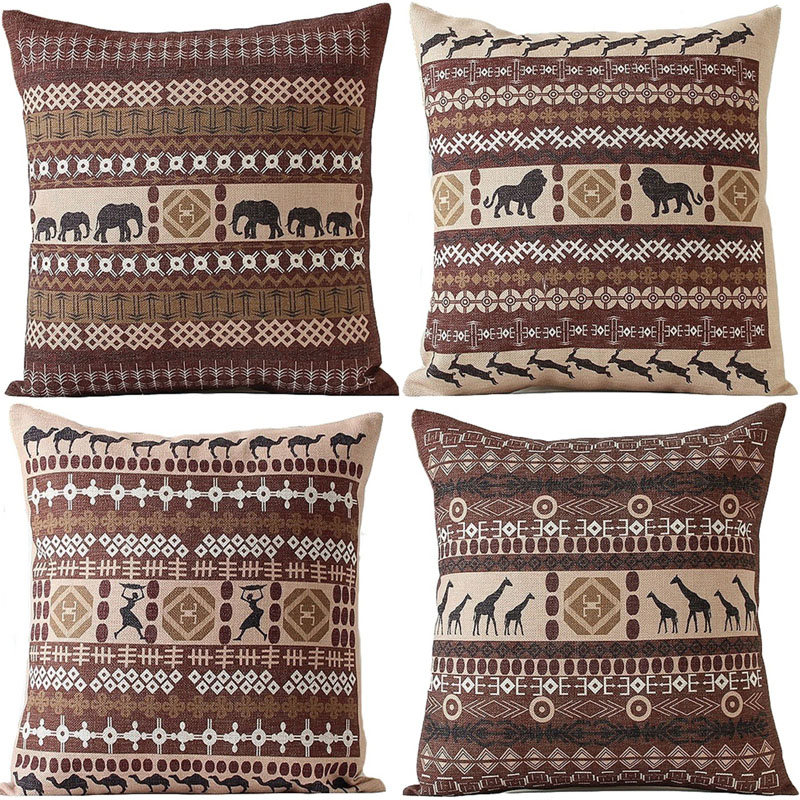 Vintage Cushion Cover Geometric Animal India Pillowcase Cotton Linen Magnificent Indian Style Decorative Pillows