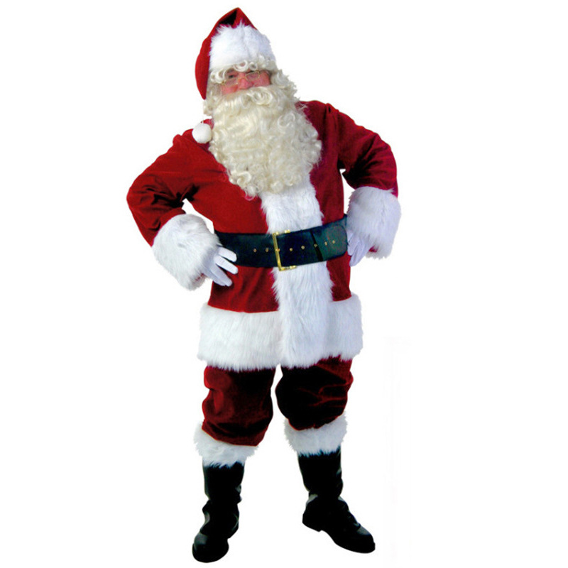 Luxury Santa Claus Christmas Costume Ball Men's Costume Watch Adult Cos Plant Fleece Set  halloween costume
