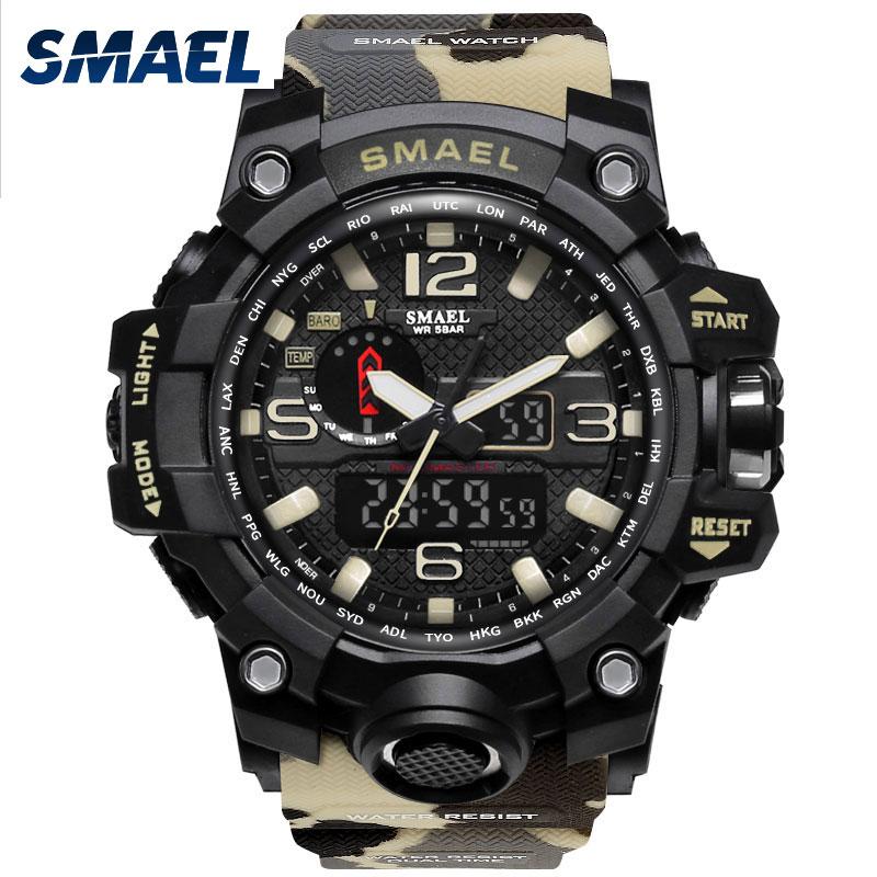 SMAEL Brand Men Watch Dual Time Camouflage Military Watch Digital Watch LED Wristwatch 50M Waterproof 1545BMen Clock Sport Watch