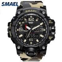 SMAELยี่ห้อผู้ชายนาฬิกาคู่เวลาพรางทหารดูนาฬิกาดิจิตอลLEDนาฬิกาข้อมือ50