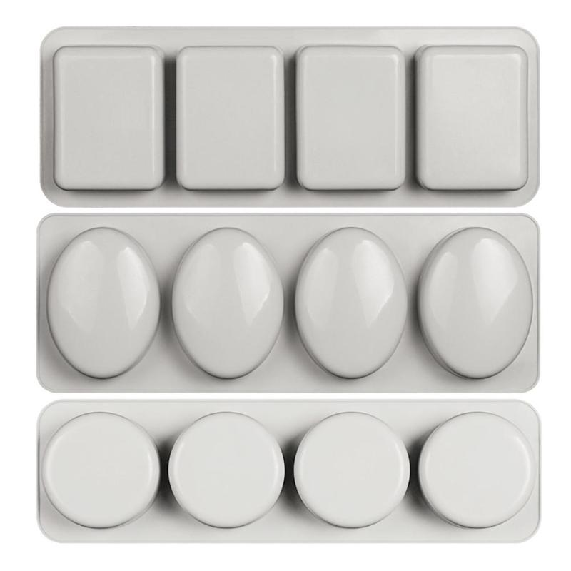 4-grids Multi-function Silicone Soap Mold DIY Handmade Craft 3D Kitchen Making Forms Baking Soap Mould For Soap Making