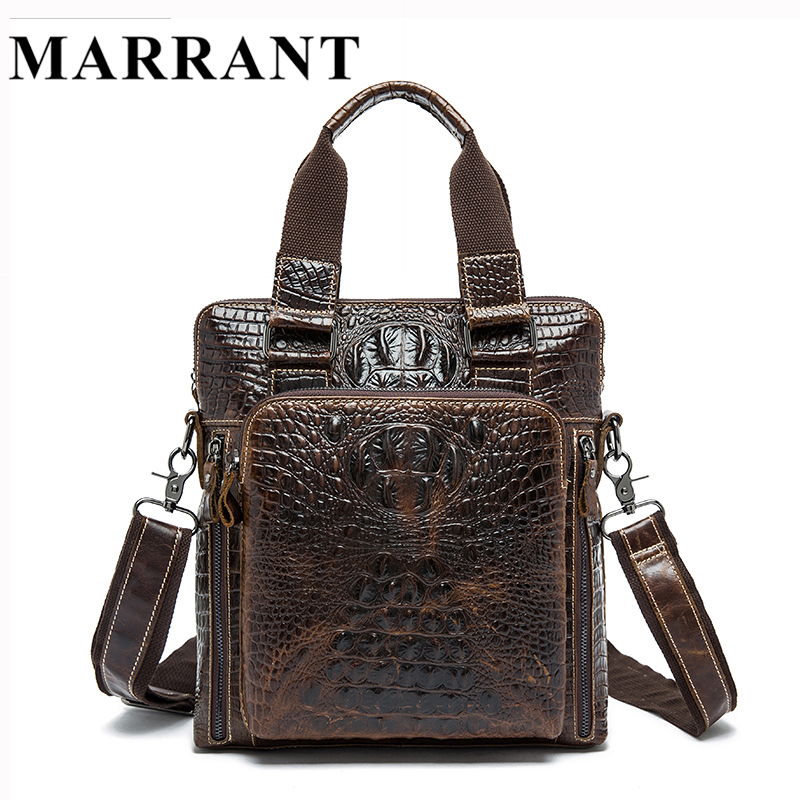 ФОТО MARRANT Genuine Leather Men Bag Men's Messenger Bags Handbags Casual Shoulder Crossbody  Bags Alligator Pattern Men Leather Bag