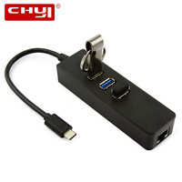 3 Ports USB 3 0 HUB Type C Hub To Gigabit Ethernet LAN Adapter High Speed