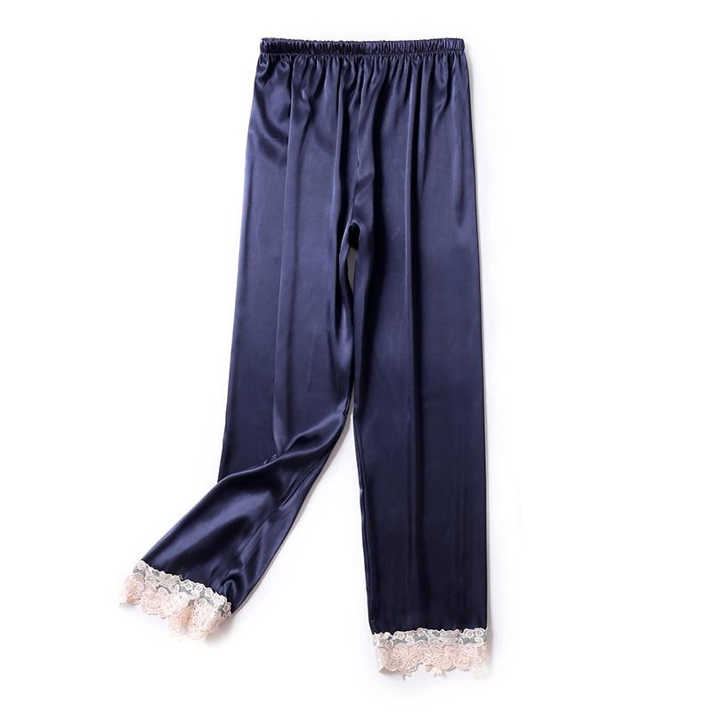 Женские шелковые брюки, сексуальные кружевные Сатиновые штаны для дома, белые штаны для сна, однотонные модные пижамные штаны для дома