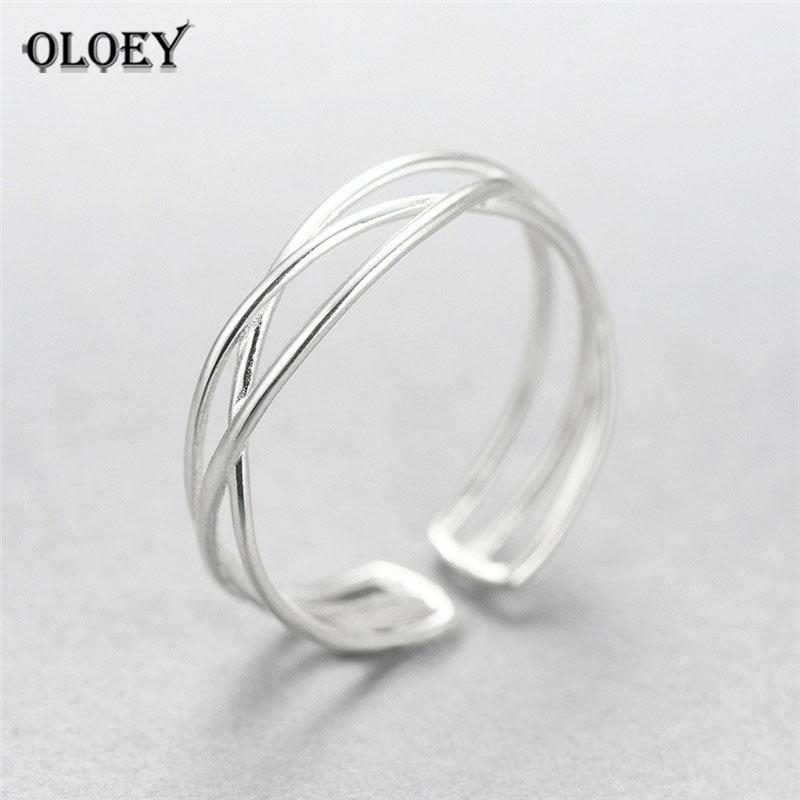 OLOEY 100% Genuine 925 Sterling Silver Line Winding Shape Open Rings For Women Creative Design Lady Fine Jewelry Gifts YMR003