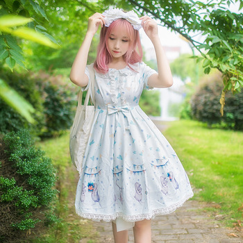 Free New Arrival Special Offer Shipping 2019 New Brocade Garden Dress Lolita Summer Long Eared Rabbit Op Daily Princess Skirt