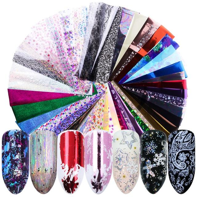 50pc Holographische Nagel Folie Bunte Mix Design Laser Starry Papier Transfer Aufkleber Sliders Für Nail art Dekoration Decals JI921