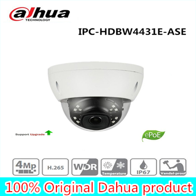 все цены на Free Shipping DAHUA Security IP Camera 4MP IR mini Dome Network Camera IP67 IK10 With POE without Logo IPC-HDBW4431E-ASE
