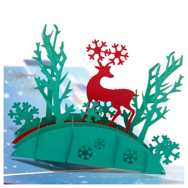 PHFU Happy Snow Deer Pop Up Greeting Card 3D Christmas
