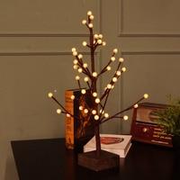 60cm 48-LED Tree Light Table Night Lamp Crack Round Balls Warm White LED Lighting for Bedroom Pub Bar Christmas Xmas Decor Gift