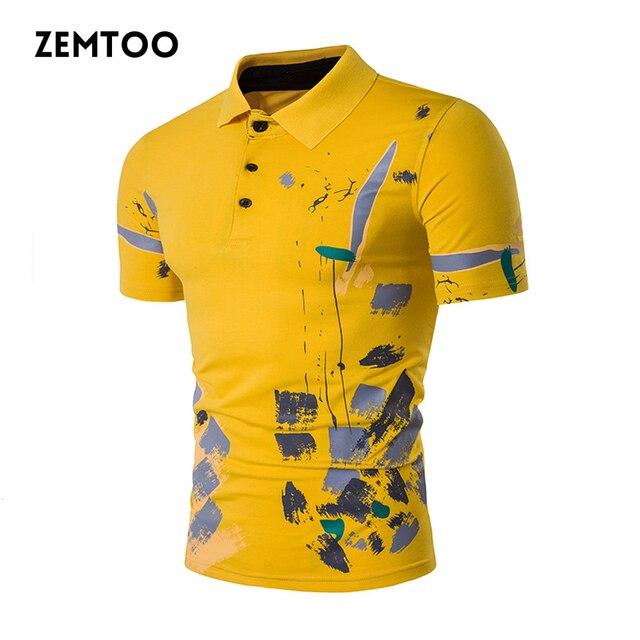 4b32a4fb8 Nova Marca de Moda Homens Camisa Pólo Verão Estampas Florais Curto Polo  manga Camisas Slim Fit