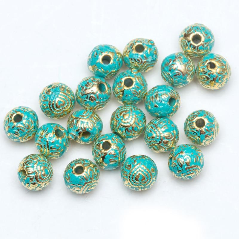 Groothandel 50 / 100pcs / lot 8.5mm-12mmmetal vintage groene en - Mode-sieraden - Foto 3