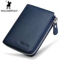 WilliamPOLO Zipper Mini Wallet Genuine Leather Men Wallet Short Purse With Coin Pocket Natural Cowhide Money Pocket
