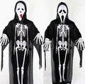 Взрослых Классический костюм Halloween Одежды + Маска + Перчатки зомби Скелет бар тема деятельности череп пугать партии призрак костюмы