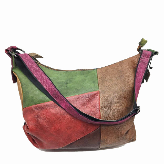 Patchwork Cowhide Leather Hobo Bag Women Casual Big Soft Cowhide Leather Slouch Bag Female Fashion Genuine Leather Shoulder Bag 3