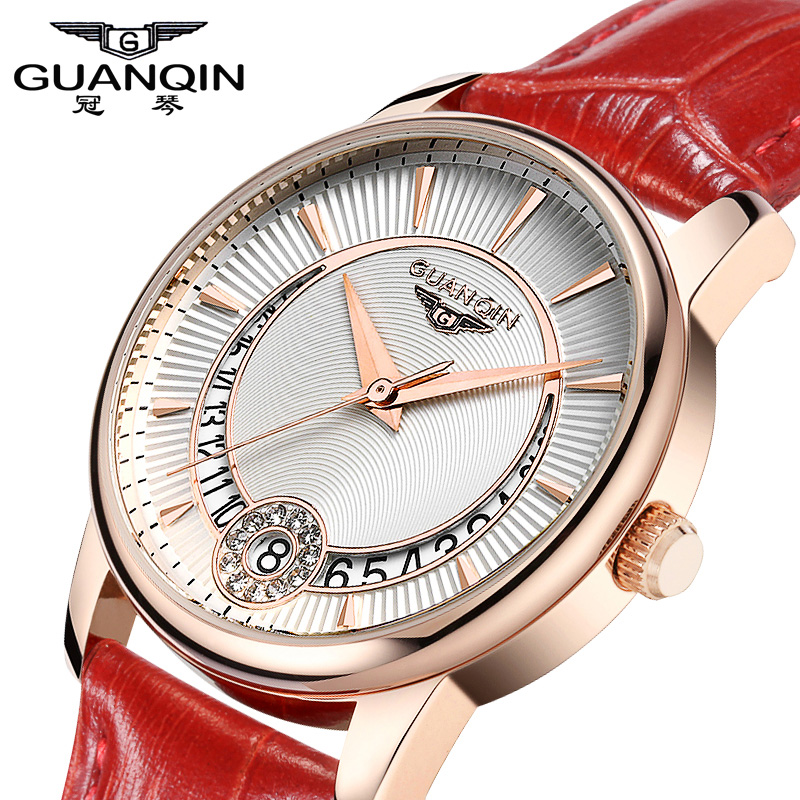 ФОТО New Fashion Watches women Genuine Leather Strap Women Dress Watches Quartz Watch Waterproof Luxury GUANQIN Lady Casual Watches