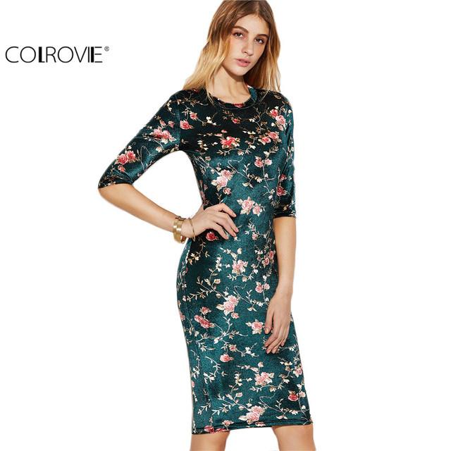 Colrovie elegante dress corea del diseñador de moda marca mujeres formal vestidos de estampado de flores de color verde oscuro sedoso lápiz dress