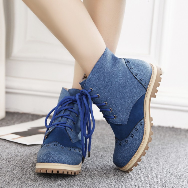 2017 Botas Mujer Big Size 34-52 Fashion Ankle Boots Vintage Brand Low Heels Spring Shoes Autumn Winter For Women Snow Shoe 130