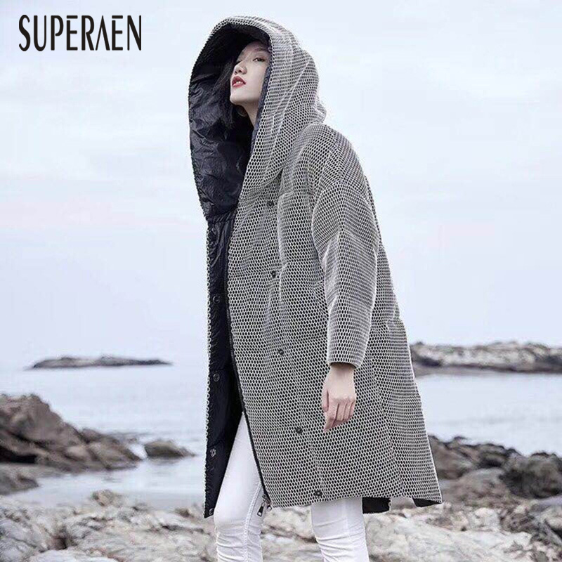 SuperAen Winter New 2018 Warm   Parkas   Coat Casual Wild Europe   Parkas   Coat Female Hooded Pluz Size Loose Thick Women Clothing