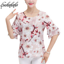 c30cac1ed3b656 Silk Chiffon Pink Floral Print Top Blouse Women Round Neck Half Flare  Sleeve Blouses 2018 Summer Blusa Feminina Loose Shirt