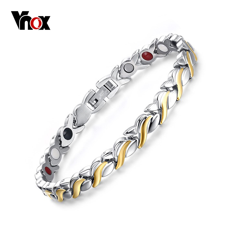 Vnox 7mm Adjustable Length Health Magnetic Bracelet For Women Stainless Steel With Germanium Hand Chain