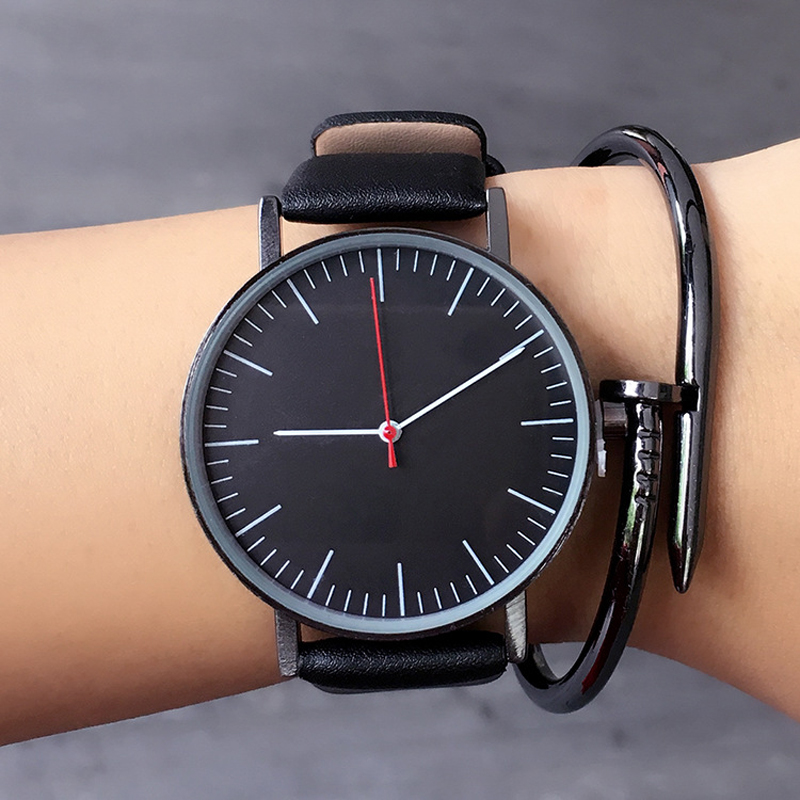New Arrival Simple Wild Wristwatches Fashion Quartz Watch for Men and Women Genuine Leather Band Black White Clock Gifts Reloj new ulzzang brand simple vintage leather black brown quartz wristwatches wrist watch for men women students