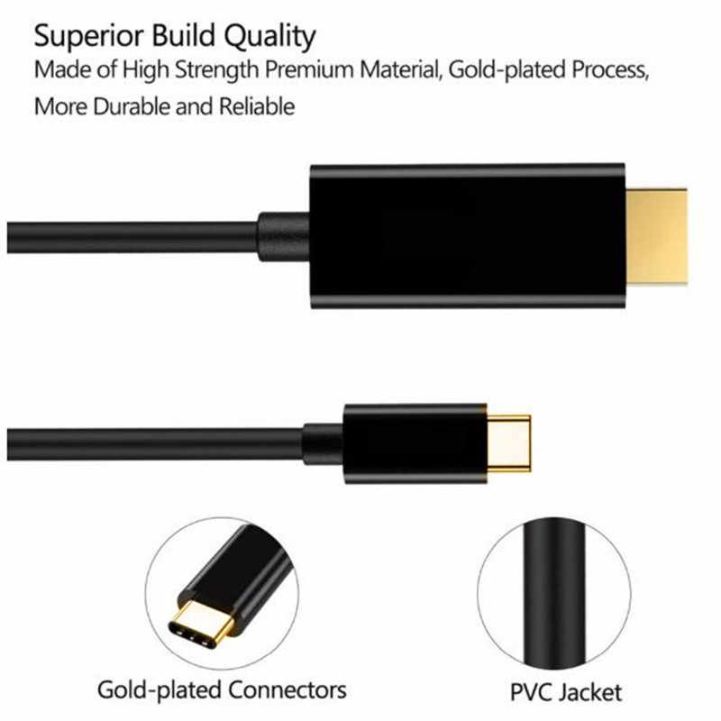 USB Tipe C untuk HDMI Adaptor USB 3.1 USB-C untuk HDMI Adaptor Male Ke Male Converter untuk MacBook2016/Huawei mateBook/Smasung S8